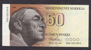 Finland 50 Markkaa 1986 W/o Litt (uncirculated) Fds / Unc photo
