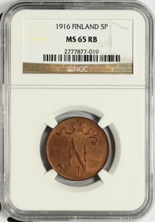 Finland Ngc Ms 65 Rb 5 Pennia 1916 Rare This photo