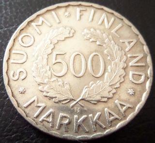 Finland 500 Markkaa Silver 1952 Olympic Helsinki,  Km 35 photo