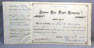 Adams Gas Light Company Ma 5 Shares 1884 Incorporated 1858 Stock Certificate $25 photo