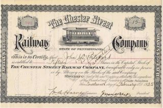 The Chester Street Railway Co Stock Certificate Chester,  Pa 1925 photo