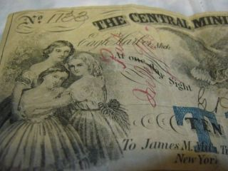 $10 Central Mining Company 1866 (blue Overprint) Signed Obsolete Note Michigan photo