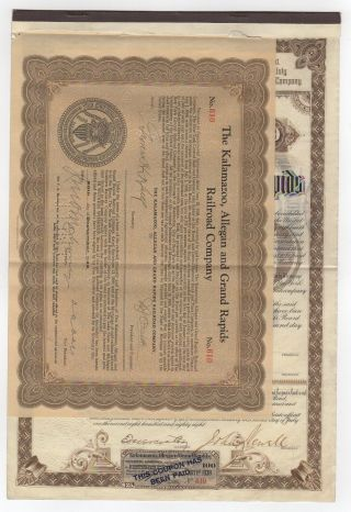 Kalamazoo,  Allegan And Grand Rapids Railroad Company Bond photo