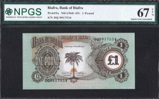 Biafra Banknote Pick 5a 1968 1 Pound Npgs Gem Uncirculated 67 Epq Unc photo