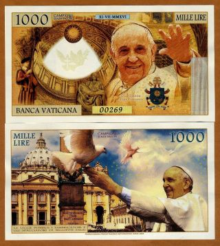Vatican,  10 X 1000 Lire,  2016 Private Issue Kamberra,  Unc Pope Francis photo