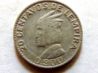 1958 Honduras Twenty (20) Centavos Silver Coin photo