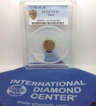 1758 - M Jb 1/2 Escudo Gold Coin Pcgs Vf 30 photo