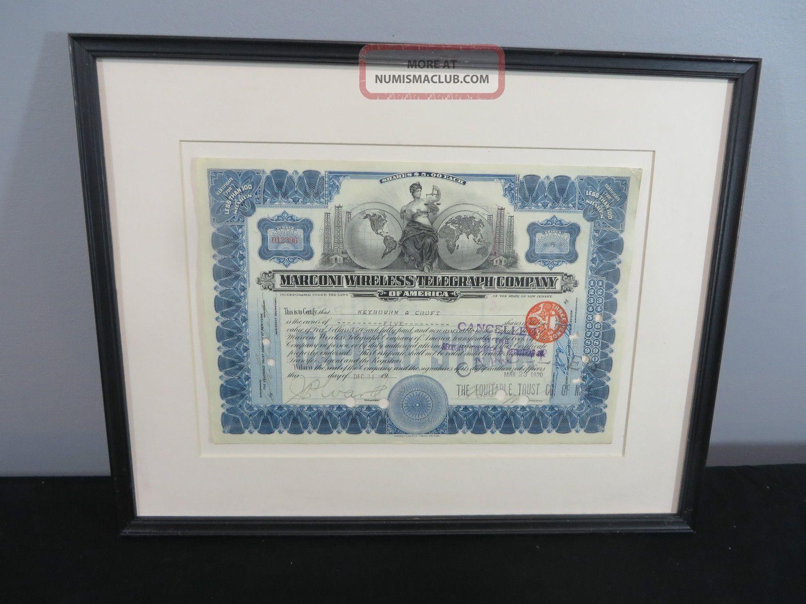Marconi Wireless Telegraph Company Of America Stock Certificate 1912 Framed Stocks & Bonds, Scripophily photo