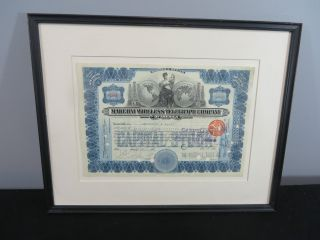 Marconi Wireless Telegraph Company Of America Stock Certificate 1912 Framed photo