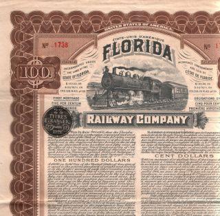 Rare Historic 1909 Florida Rwy Bond W Frank Drew Autograph 2 Cond Levels - Read photo