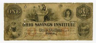 1855 $1 The Bank Of The Ohio Savings Institute - Tiffin,  Ohio Note photo