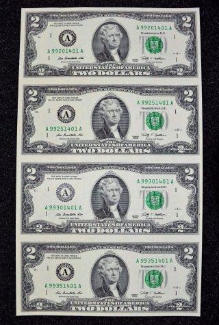 Uncut Sheet $2 Two Dollar Bills (x4) U.  S Uncut Currency Uncirculated 2009 Pm267 photo