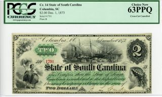 1873 $2 The State Of South Carolina Note - Pcgs Choice 63 Ppq photo