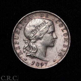 Colombia 20 Centavos 1897 Double Die Obverse photo