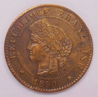 1890 A France Centime Au Sharp Paris Flashy Laureate Bronze Coin photo