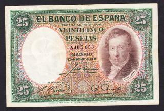 Spain 25 Pesetas 25 - 04 - 1931 Fine P.  81,  Banknote,  Circulated photo