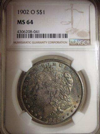 1902 - O Morgan Silver Dollar Ngc Certified Ms 64 Toning photo