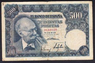 Spain 500 Pesetas 15 - 11 - 1951 G - Vg P.  142,  Banknote,  Circulated photo