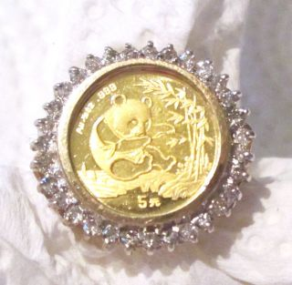 32 Diamond.  999 Gold Panda 1994 Coin 10k Yellow Gold Ring - 4.  8 Grams - Size 6 photo