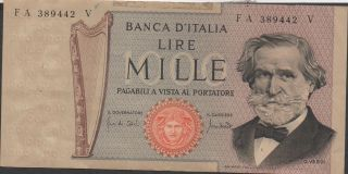 Italy 1000 Lire 25.  3.  1969 Block Fa - V Circulated Banknote photo