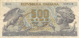 Italy 500 Lire 20.  6.  1966 Series Q 09 Circulated Banknote photo