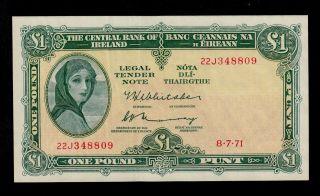 Ireland Republic 1 Pound 1971 Pick 64c Au Banknote. photo