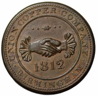 1812 Great Britain Warwixkshire Birminham Union Co One Penny Conder Token photo