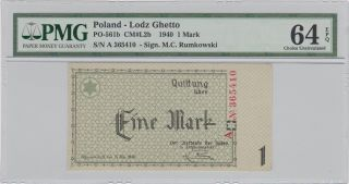 Poland Lodz Ghetto 1 Mark 1940 Unc Pmg 64 Epq photo