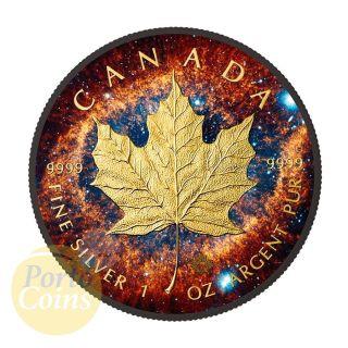 2016 Canada $5 Helix Nebula Maple Leaf 24k Gold & Ruthenium 1 Oz Silver Coin photo