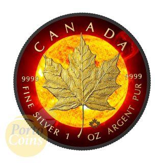 2015 Canada $5 Solar Flare Maple Leaf 24k Gold & Ruthenium 1 Oz Silver Coin photo
