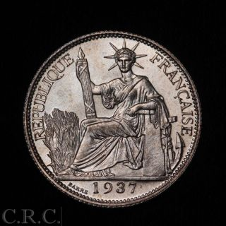 French Indo China 20 Cents 1937 Silver Bu, photo