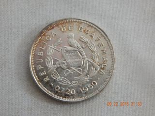 1950 Guatemala 25 Centavos - Mintage 81,  000 Only - Silver.  1929 - 27 Mm photo