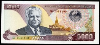 Laos 5,  000 5000 Kip 1997 P - 34a Unc Uncirculated Banknote photo