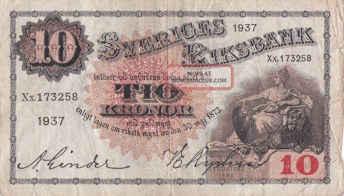 1937 Sweden 10kronor P:34t Europe photo