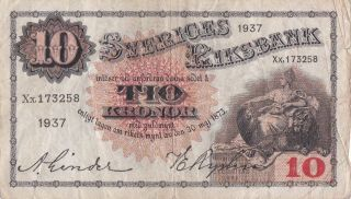 1937 Sweden 10kronor P:34t photo
