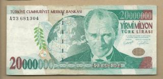Turkey 1970 (2000) 20000000 (20,  000,  000) Lira P 215 Circulated photo