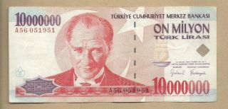 Turkey 1970 (1999) 10000000 (10,  000,  000) Lira P 214 Circulated photo