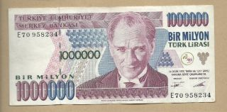 Turkey 1970 (1995) 1000000 (1,  000,  000) Lira P 209 Circulated photo