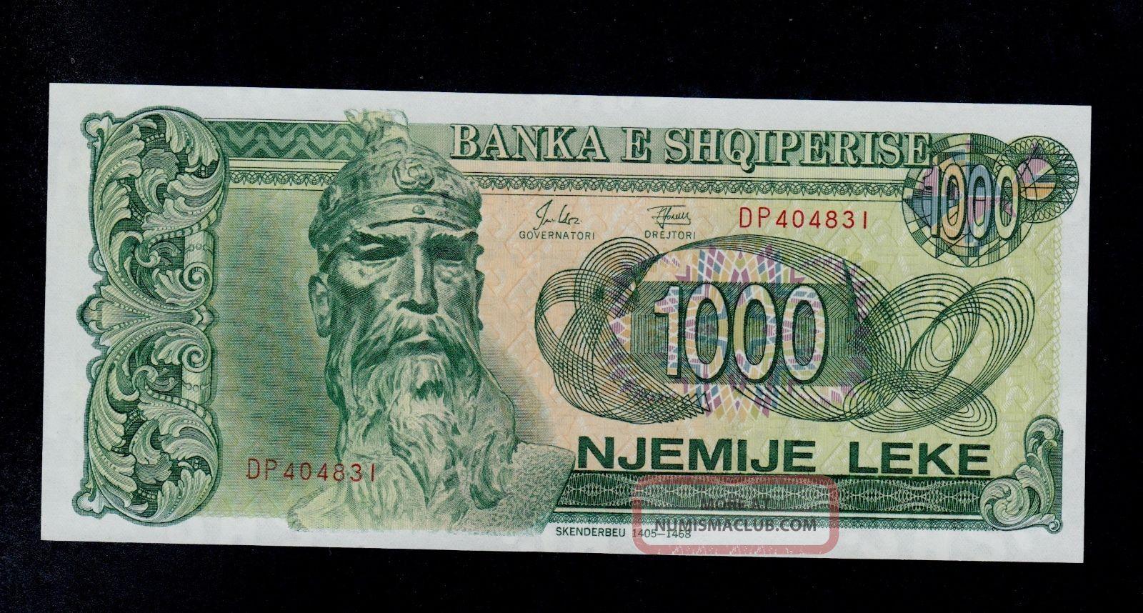 Albania Banknote Specimen Paper Money 1000 leke 1992 UNC