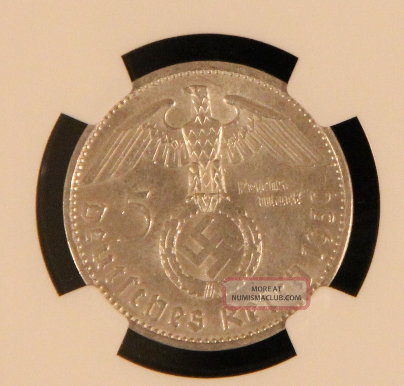 Ngc Au55 1939 - B Nazi Germany 5 Reichsmark Silver Coin Large Swastika Third Reich Germany photo