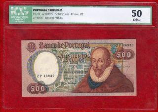 Portugal 500 Escudos Banknote,  P 177a 1979,  Icg 50 Xf/aunc