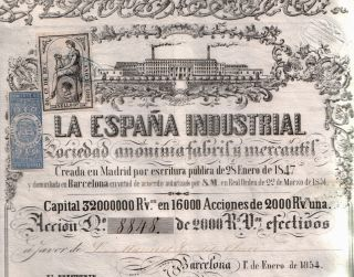 1854 2000 Reales Industrial Bond Of Spain W Lovely Rare Stamps (10 Kinds) photo