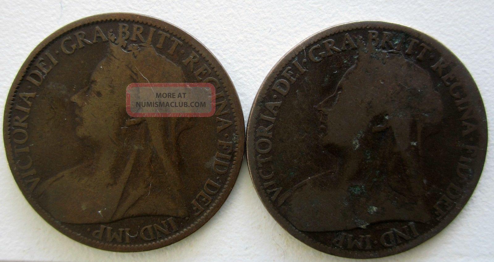 1900,  1901english (british) Pennies UK (Great Britain) photo