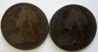 1900,  1901english (british) Pennies photo
