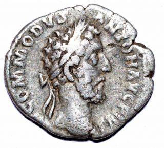 Authentic Commodus Roman Coin - Ar Silver Denarius,  Rv.  Victoria - A416 photo