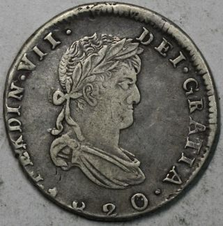 1820 - Zs Mexico War Of Independence Silver 2 Reales Ferdinand Vii Coin 16062915r photo