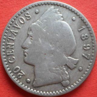 1897 Dominican 20 Centavos Silver Dominicana Dominikanische Dominicaine Dom Rep photo