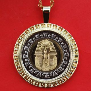 2010 Egypt 1 Pound King Tut Gold Mask Bu Unc Coin Gold Plated Necklace photo