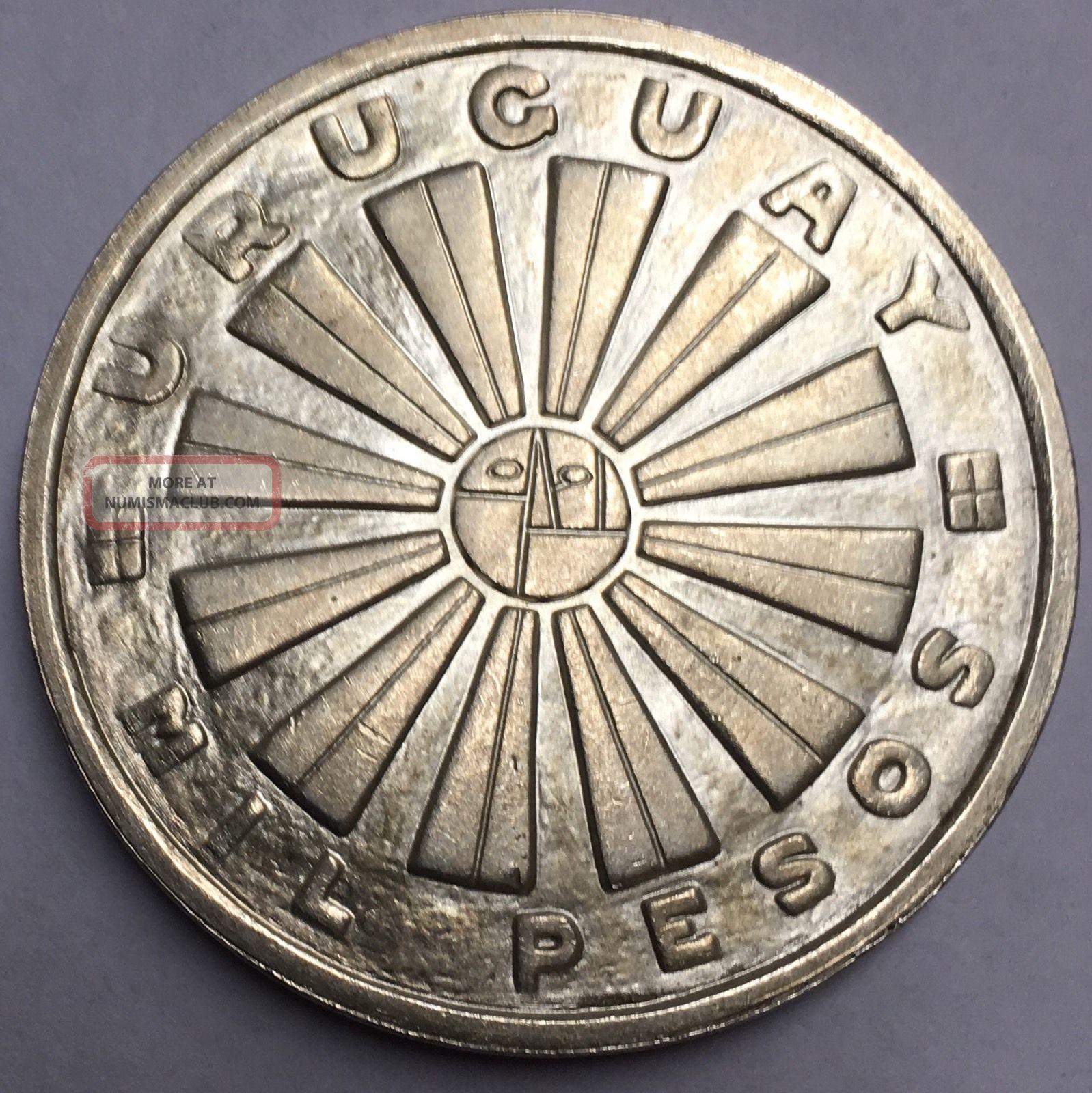 South American Republic Of Uruguay 1969 1000 Pesos Silver Crown Coin. South America photo