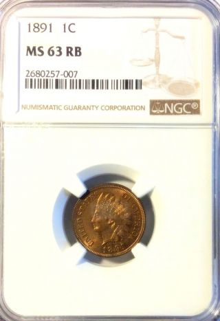 Ngc Ms63 Rb 1891 Indian Cent - Uncirculated - Great Eye Appeal photo